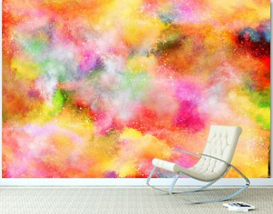 Freeze motion of colorful powder explosions isolated on black background