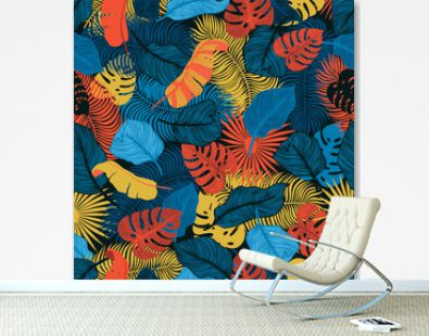 Tropical seamless pattern with exotic palm leaves. Monstera, palm, banana leaves. Exotic textile botanical design. Summer jungle design. Hawaiian style.