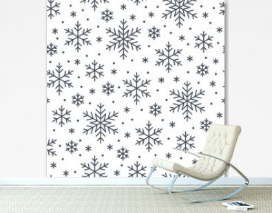 Christmas, new year seamless pattern, snowflakes line illustration. Vector icons of winter holidays, cold season snow flakes, snowfall. Celebration party black white repeated background.