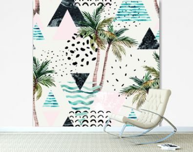 Art illustration with palm tree, doodle, marble, grunge textures, geometric shapes