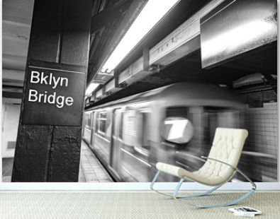 Brooklyn Bridge subway sign in New York City Manhattan station