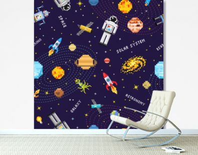 space seamless pattern background, alien spaceman, robot rocket and satellite cubes solar system planets pixel art, digital vintage game style. Mercury, Venus, Earth, Mars, Jupiter, Saturn.