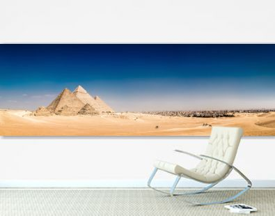 Panorama of the area with the great pyramids of Giza, Egypt