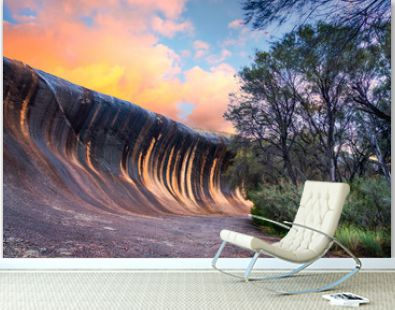 Sunset at Wave Rock near the town of Hyden, in the south west of Western Australia, Australia.