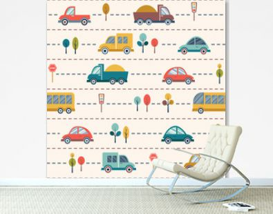 Seamless kids cartoon pattern with cars, buses, trucks