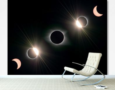 composite image of five stages of a total solar eclipse