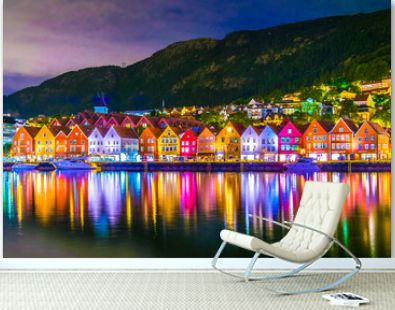 Night view of a historical wooden district Bryggen in the norwegian city Bergen.