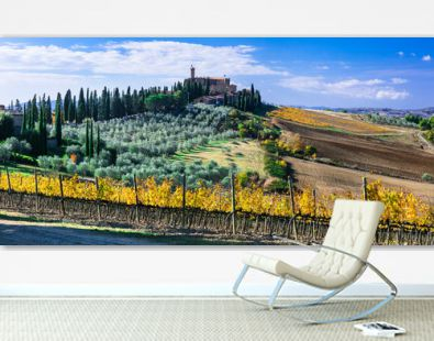 Traditional countryside and landscapes of beautiful Tuscany. Castles and vineyards. Italy