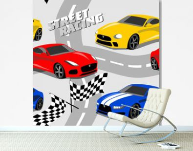 cool sport cars seamless pattern