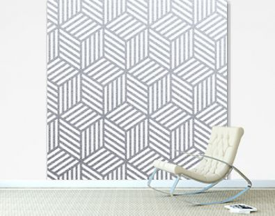 Geometric silver 3D cubes seamless pattern with glitter texture of abstract woven lines on white background. Vector silver glittering ornament for tile or modern backdrop swatch design template