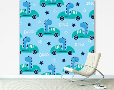 seamless racing dinosaur animal with car pattern vector illustration