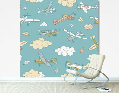 Retro planes in different trendy colors seamless pattern. Flat design illustration. Good colors. Very easy to edit.