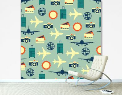 Vector seamless pattern of travelling on airplane. Tourism background