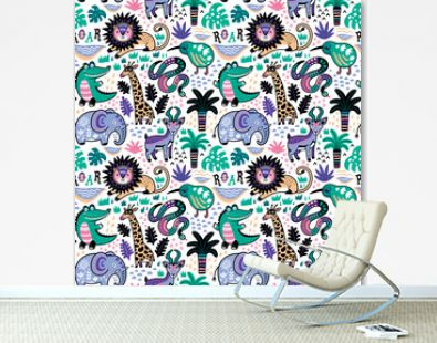 Funny tropical animals seamless pattern in decorative cartoon style. Vector illustration