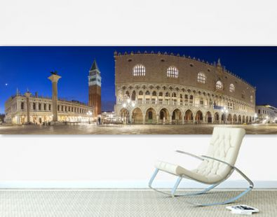 Night panorama of San Marco square with Doge Palace in Venice, Italy