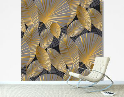 elegant gold exotic leaves seamless pattern