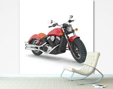 Old retro motorcycle isolated on white. 3D illustration