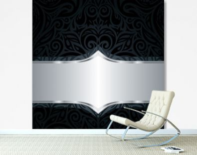 Decorative black & silver floral luxury wallpaper background design
