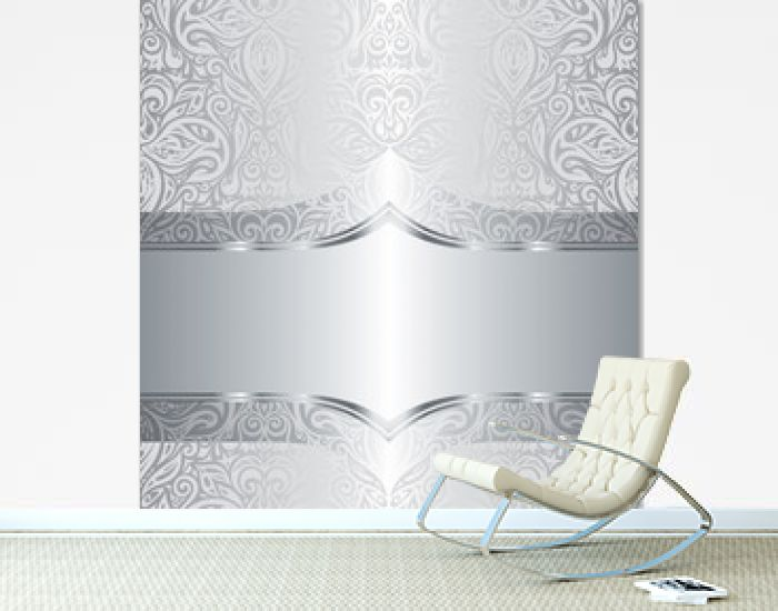 Silver shiny floral vintage pattern wallpaper background design