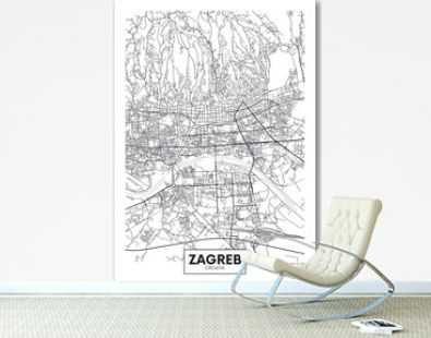 Detailed vector poster city map Zagreb