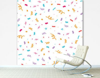 Colorful confetti seamless repeat pattern. Great for a birthday party or an event celebration invitation or decor. Surface pattern design.