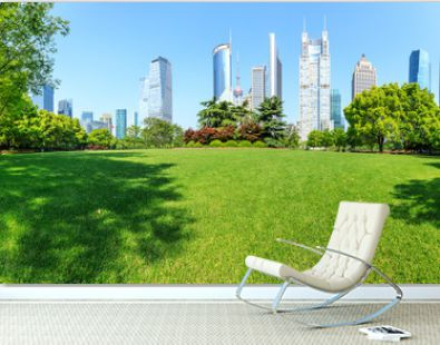 city park with modern commercial building background in shanghai