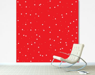 Red decorative seamless pattern with snow