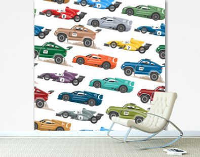 Sport speed automobile and offroad rally car colorful fast motor racing auto driver transport motorsport vector illustration seamless pattern background