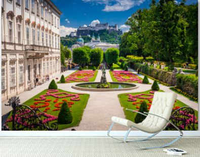 Mirabell Palace and Gardens in Summer, Salzburg castle in background