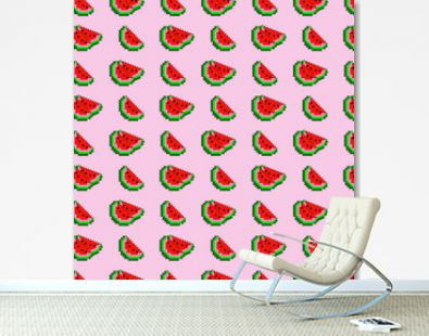 Pixel watermelon slices vector seamless pattern background.