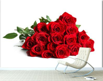 Beautiful red rose flowers on white background