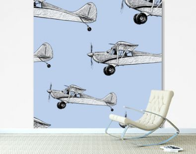 Vector background of old airplanes