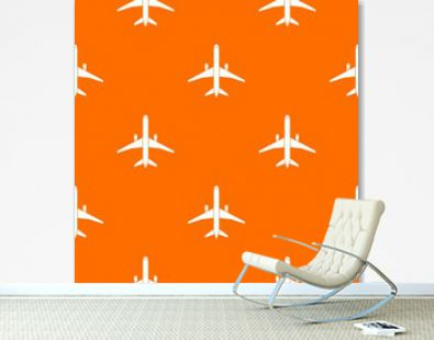 Plane pattern repeat seamless in orange color for any design. Vector geometric illustration