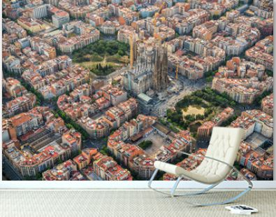 Barcelona aerial view, Eixample residencial district and Sagrada Familia Basilica, Spain