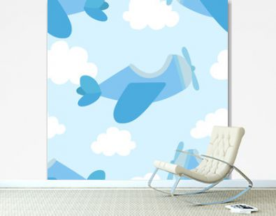 Seamless pattern of airplane image and clouds in blue shades. Illustration for a boy at a baby shower party. Background for greeting or invitation cards.