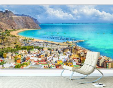 View of San Andres village and Las Teresitas beach, Tenerife, Canary Islands, Spain