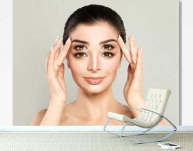 Woman with four eyes. Sale, double discount or difficult choose concept. Everything is possible