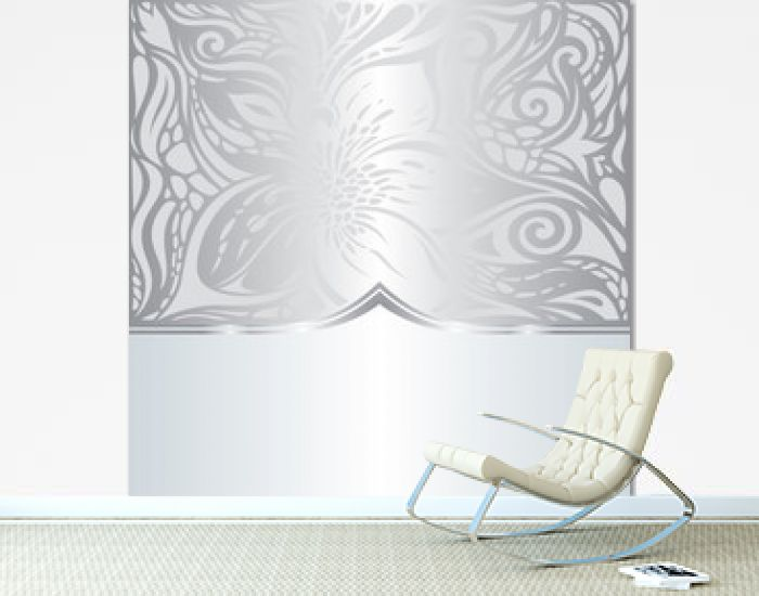 Silver shiny floral vintage pattern wallpaper background design trendy fashion design with copy space