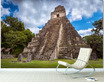 Tikal national park near Flores in Guatemala, jaguar temple is the famous pyramid in Tikal