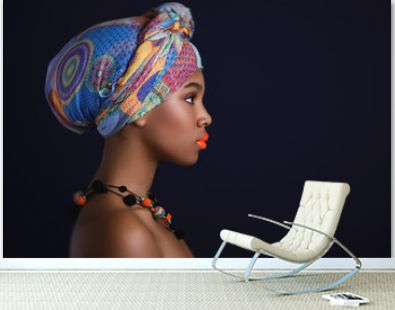 African woman with a colorful shawl on her head