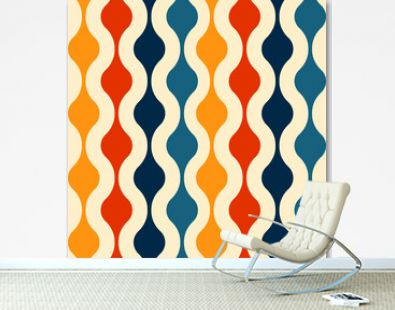Retro seamless pattern - colorful nostalgic background design