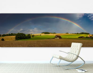 landscape hill with rainbow