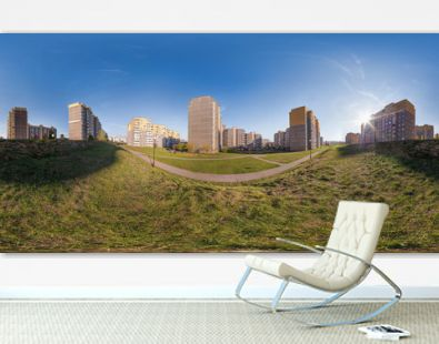 full seamless 360 degrees angle view panorama high-rise building area urban development residential quarter in the evening in equirectangular spherical projection. vr ar content