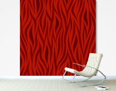 Seamless vector abstract wavy pattern with natural motif in monochrome red colors
