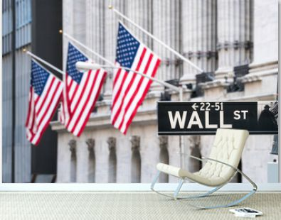 Wall Street in Lower Manhattan, New York City, USA