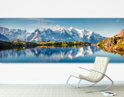 Colorful summer panorama of the Lac Blanc lake with Mont Blanc (Monte Bianco) on background