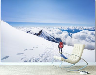 Trekking to the top of Mont Blanc mountain in French Alps