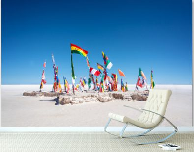 Colorful Flags From All Over the World at Uyuni Salt Flats, Bolivia, South America