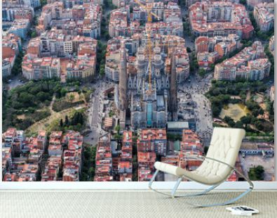 Barcelona aerial view, Eixample residencial district and Sagrada Familia, Spain