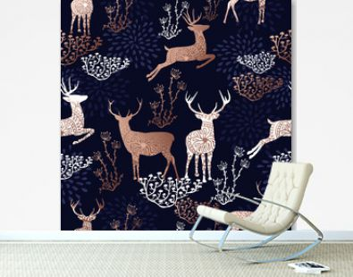 Christmas copper deer seamless pattern background